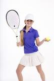 Jugador de tenis bonito de la muchacha en el backgroud blanco en estudio Fotografía de archivo libre de regalías