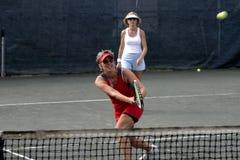 Jugador de tenis caucásico de sexo femenino Imagen de archivo