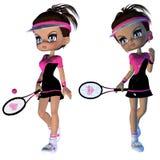 Jugador de tenis de la historieta Imágenes de archivo libres de regalías