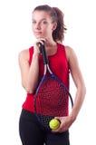 Jugador de tenis de la mujer aislado en el blanco Foto de archivo libre de regalías