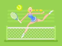 Jugador de tenis de la mujer del personaje de dibujos animados Fotografía de archivo