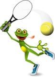 Jugador de tenis de la rana Imagen de archivo libre de regalías