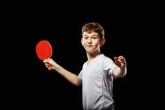 Jugador de tenis de mesa divertido Foto de archivo libre de regalías