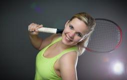 Jugador de tenis de sexo femenino Fotos de archivo libres de regalías
