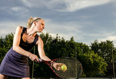 Jugador de tenis de sexo femenino Fotografía de archivo