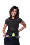 Jugador de tenis de sexo femenino bonito Fotos de archivo libres de regalías