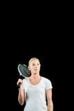 Jugador de tenis de sexo femenino que presenta con la estafa Imagenes de archivo