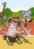 Jugador de tenis del pulpo Imágenes de archivo libres de regalías