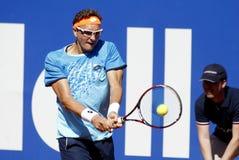 Jugador de tenis Denis Istomin del Uzbek Imagenes de archivo
