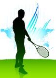 Jugador de tenis en fondo de la correspondencia de mundo Foto de archivo libre de regalías