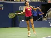 Jugador de tenis profesional Anastasija Sevastova de Letonia en la acción durante su partido final cuarto del US Open 2016 foto de archivo libre de regalías