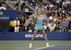 Jugador de tenis profesional Camila Giorgi durante tercero partido de la ronda en el US Open 2013 contra Caroline Wozniacki Imagen de archivo