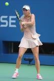 Jugador de tenis profesional Caroline Wozniacki durante el tercer partido de la ronda del US Open 2014 Foto de archivo libre de regalías