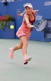 Jugador de tenis profesional Caroline Wozniacki durante partido final de las mujeres en el US Open 2014 Imagen de archivo libre de regalías