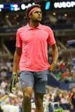 Jugador de tenis profesional Jo-Wilfried Tsonga de Francia en la acción durante su partido final cuarto en el US Open 2016 Foto de archivo libre de regalías