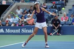 Jugador de tenis profesional Johanna Konta de Gran Bretaña en la acción durante su partido redondo cuatro del US Open 2016 fotografía de archivo