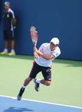Jugador de tenis profesional Kei Nishikori de Japón durante partido del US Open 2014 imagen de archivo