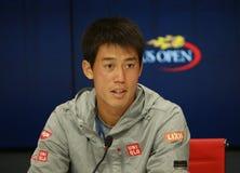 Jugador de tenis profesional Kei Nishikori de Japón durante rueda de prensa después del partido en el US Open 2016 Foto de archivo