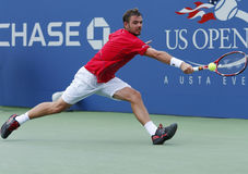 Jugador de tenis profesional Stanislas Wawrinka durante tercero partido de la ronda en el US Open 2013 Fotos de archivo libres de regalías