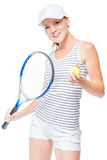 Jugador de tenis que celebra una bola y una estafa de tenis en las manos Fotografía de archivo
