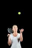 Jugador de tenis que celebra una estafa lista para servir Fotos de archivo libres de regalías