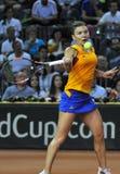 Jugador de tenis Simona Halep de la mujer durante un juego Imagen de archivo libre de regalías