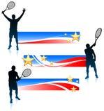 Jugador de tenis y sistema de la bandera de Estados Unidos Imagen de archivo libre de regalías