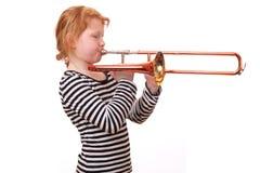 Jugador de Trombone Imágenes de archivo libres de regalías