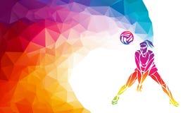 Jugador de voleibol Bandera poligonal del vector del deporte de equipo libre illustration