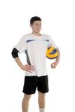 Jugador de voleibol con la bola Foto de archivo libre de regalías