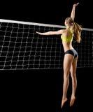 Jugador de voleibol de playa de la mujer con la versión neta Imagenes de archivo