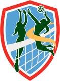 Jugador de voleibol que clava la bola que bloquea el escudo Imagen de archivo libre de regalías