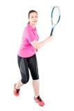 Jugador del atleta con la estafa para el tenis en un fondo blanco Fotos de archivo