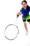 Jugador del bádminton en la acción Imagen de archivo libre de regalías