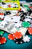 Jugador del concepto? A del póker con los as dobles? Fotos de archivo libres de regalías