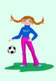 Jugador del futbolista de la muchacha con la bola Imagen de archivo libre de regalías