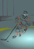 Jugador del hockey sobre hielo con el palillo y el duende malicioso de hockey Fotografía de archivo