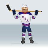 Jugador del hockey sobre hielo del equipo de los E.E.U.U. Imagen de archivo