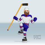 Jugador del hockey sobre hielo feliz Foto de archivo libre de regalías
