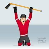 Jugador del hockey sobre hielo que se coloca en sus rodillas Foto de archivo libre de regalías