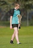 Jugador del lacrosse de las mujeres Foto de archivo libre de regalías