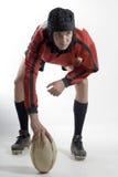 Jugador del rugbi con el balompié - vertical Imágenes de archivo libres de regalías