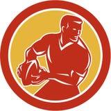 Jugador del rugbi que pasa el círculo de la bola retro libre illustration