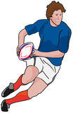 Jugador del rugbi que se ejecuta con la bola Imágenes de archivo libres de regalías