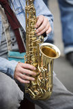 Jugador del saxofón Fotografía de archivo libre de regalías