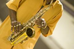 Jugador del saxofón Foto de archivo libre de regalías