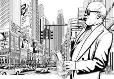 Jugador del saxofón en una calle de Nueva York stock de ilustración