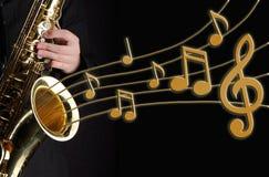 Jugador del saxofón Imagen de archivo