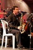 Jugador del saxofón Foto de archivo