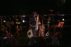 Jugador del saxofón Fotografía de archivo